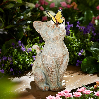 Cat with Solar Butterfly Statue