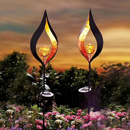 Set of 2 Bronze Flame Solar Stakes