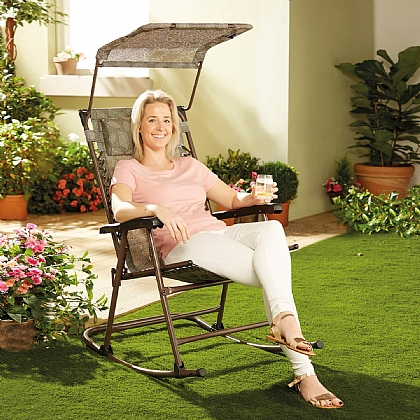Rocking Garden Chair with Shade - Buy 2 & Save £20