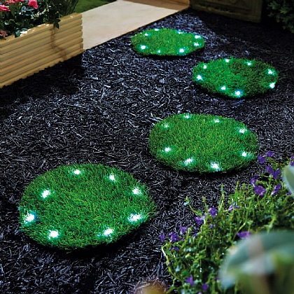 Pack of 4 Solar Grass Stepping-Stones - Buy 2 & Save £5