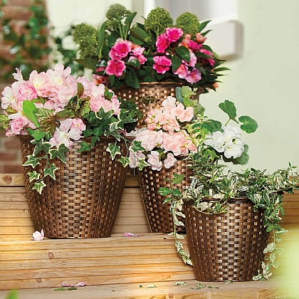 Set of 4 Rattan-Look Planters