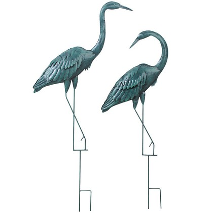 Set of 2 Verdigris Herons