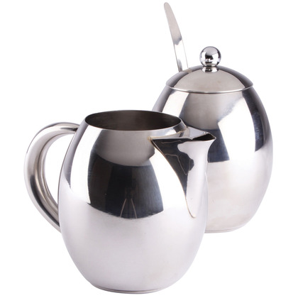 Stainless Steel Sugar Bowl & Milk Jug