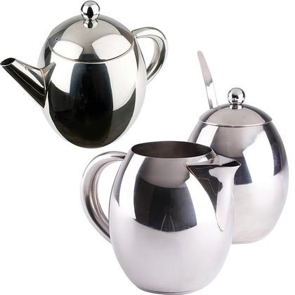 Stainless Steel Milk & Sugar Set & Thermal Drip-Free Teapot