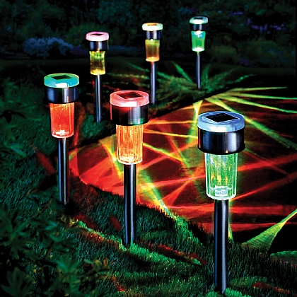 Set of 6 Colour-changing Solar Stake Lights
