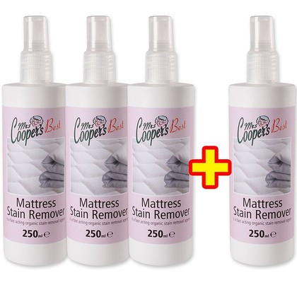 3x Mrs Coopers 250ml Mattress Stain Remover + 1 free