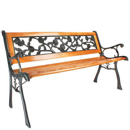 Verdigris and Wood Garden Bench