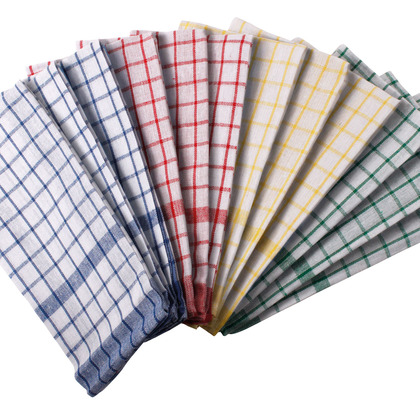 Pack of 12 Classic Checked Tea Towels x2