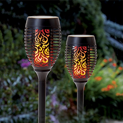 Set of 2 Flickering Flame Garden Torches
