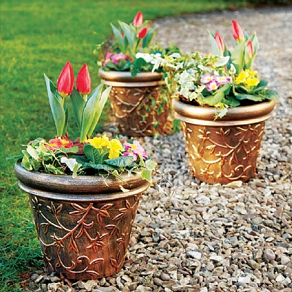 Set of 3 Ceramic-Look Planters - Buy 2 Save £6