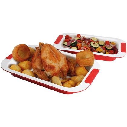 Set of 2 Ceramic Roasting Trays