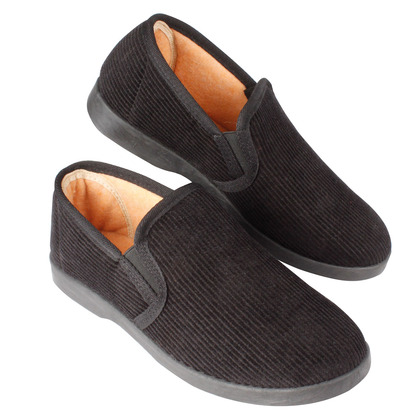 Mens Black Ribbed Slippers