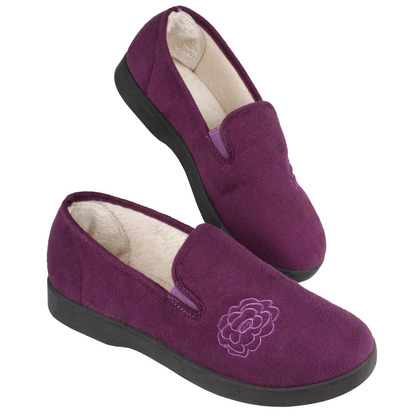 Ladies Embroidered Plum Slippers
