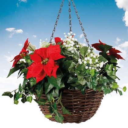 Artificial Poinsettia Hanging Basket