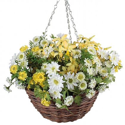 Artificial Daisy Hanging Basket