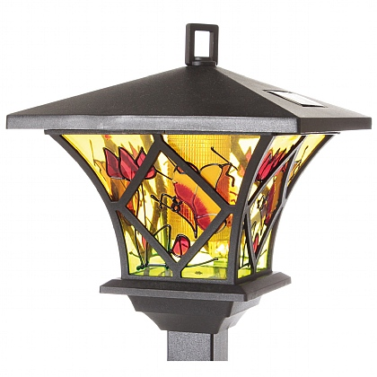 Set of 2 Tiffany Style Solar Garden Lamps