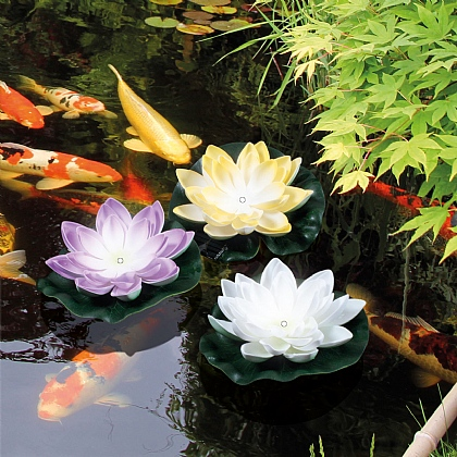 Set of 3 Floating Lily Solar Pond Lights